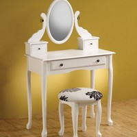A.M.B. Furniture & Design :: Bedroom furniture :: Vanity Sets :: 3 piece white finish wood make up vanity set mirror and stool with floral print cushion
