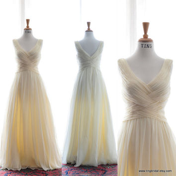 Custom Summer Wedding Dress-Peach Chiffon Gown-Made to order in 26 colors