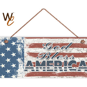 "God Bless America Sign, Weathered Patriotic Decor, Stars and Stripes, American Flag, Weatherproof, 6"" x 14"" Sign, USA Flag, Made To Order"