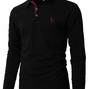 VONE05WA Mens Polo Shirt Brands 2018 Male Long Sleeve Fashion Casual Slim Solid Deer Embroidery Polos Men Jerseys 3XL