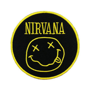 NIRVANA Smiley Iron On Sew On Embroidered Badge Patch