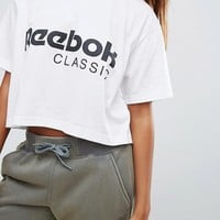 Reebok Classics Logo Cropped T-Shirt In White at asos.com