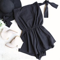 reverse - black structured strapless romper