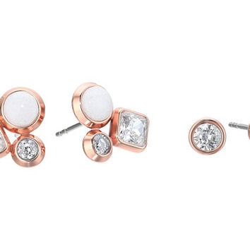Michael Kors Tone Crystal and White Jade Cluster Stud Earrings Set Rose Gold - Zappos.com Free Shipping BOTH Ways