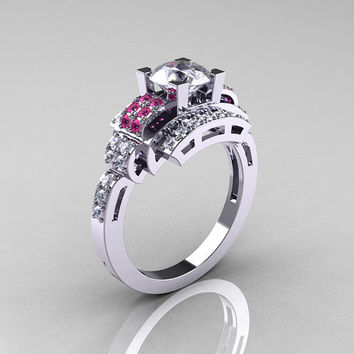 Modern Edwardian 10K White Gold 1.0 Carat White and Pink Sapphire Ring R202-10KWGPWS