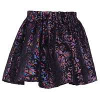 ROMWE | ROMWE Dark Baroque Pattern Black Skirt, The Latest Street Fashion