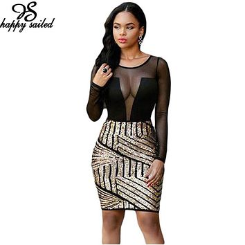 Happy Sailed 2017 Women Autumn Clothing Gold Sequin Black Mesh Patchwork Party Club Wear Lady Mini Bodycon Slim Dresses 22804