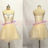 Short champagne tulle homecoming dress in 2014,cute sweetheart party gowns with rhinestones,latest cheap dress for holiday prom hot.