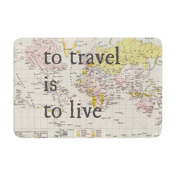 "Catherine Holcombe ""To Travel Is To Live"" Color Map Memory Foam Bath Mat"