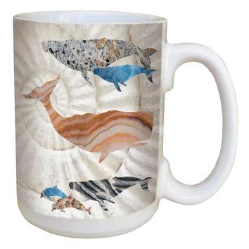 Whale Dolphin Shell Mug - Large 15 oz Ceramic Coffee Mug