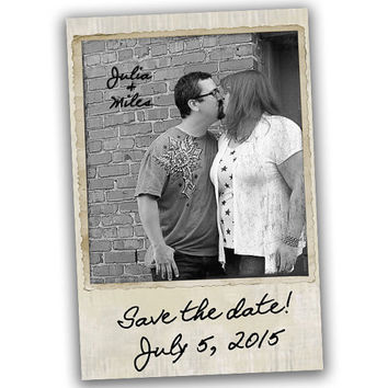 Polaroid Save The Date Cards - Save The Date Postcard - Save The Date Card - Save the Date Invitation - Antique Polaroid - Vintage