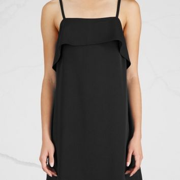 Alice + Olivia Etta black ruffle-trimmed mini dress