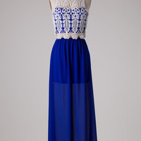 Graceful in Lace Maxi Dress -  Royal Blue