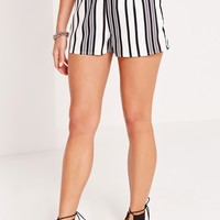 Missguided - Stripe High Waisted Shorts White