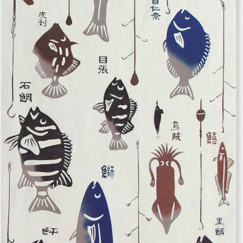 Japanese Tenugui Towel Cotton Fabric, Colorful Fish Traditional Art Design, Wall Art Hanging, Gift Wrapping, Headband, Scarf, k019