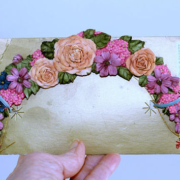 Vintage Roses Halo Christmas Ornament | Floral Furniture Decal | Pink Green Purple Resin Half Moon to Repurpose | Shabby Chic