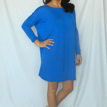 Royal Blue Long Sleeve Piko Style Tunic/Dress