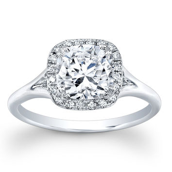Ladies 14k white gold thin cushion diamond halo engagement ring with 1.50ct white sapphire center 0.10 ctw G-VS diamonds