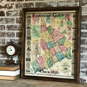 Vintage Fairfield County Map Circa 1856 Framed Shadowbox -- 25-1/2-in