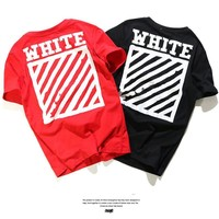 Off White Short Sleeve Couple Casual T-shirts [10262358163]