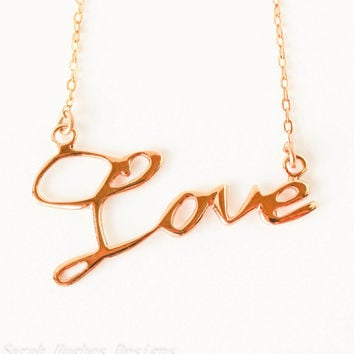 VALENTINES DAY SALE Love handwriting 10k gold plated Christmas necklace