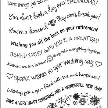 Christmas Snowflakes Curved Wavy Words Sentiment Clear Silicone Stamp Scrapbook Paper Craft Clear stamp scrapbooking 490