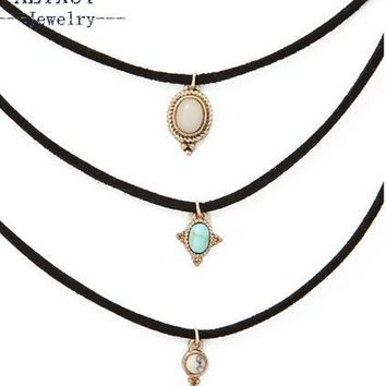 New fashion jewelry leather blue stone choker necklace set 1set =3pieces gift for women girl N1779