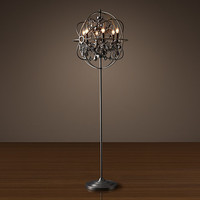 Foucault's Orb Smoke Crystal Floor Lamp - Matte Natural Iron
