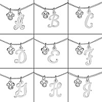 Silver Initial Mickey Mouse Necklace