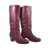 Dexter Boots Vintage 1970s Stacked Heel Riding Dex  Burgundy Brown Women's size 7 1/2