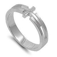 Sterling Silver 7mm Cross Ring (Size 5 - 10)