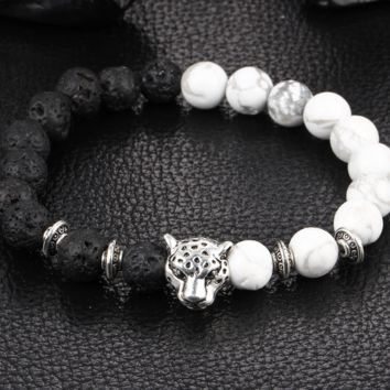 Natural weathering agate black line loose volcanic stone green stone hand string Buddha beads lion leopard head bracelet