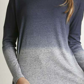 Umgee navy wide neck long sleeve ombre top