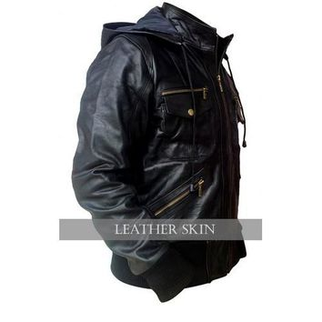 Leather Skin Stylish Black Men Genuine  Leather Jacket with Hoodie