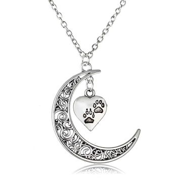 Love Heart Animal Cat Dog Paw Print Hollow Moon Pendant Chain Necklace Animal Rescue Memorial Jewelry Gift For Pet Owner Friends