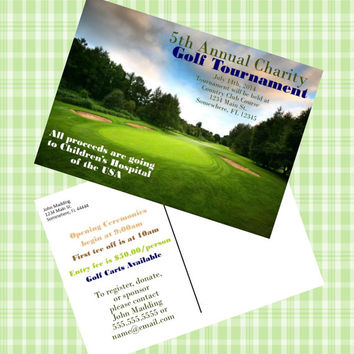 Golf Tournament Post Card 5x7.  Golf mailer for tournament. Charity Golf Tournament.  Golf postcard with picture