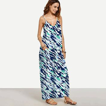 12 Desgins Summer Beach Long Dresses For Women Boho Black V Neck Sleeveless Placement Print Split Side Print Maxi Dress