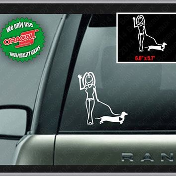 Lady Walking Dachshund Decal Wiener Dog Laptop Window Vinyl Car Sticker (CL108)