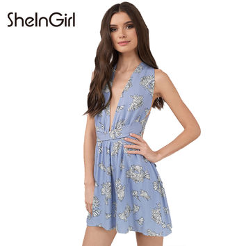 Sexy Backless Floral Print A-Line Dress Women Clothing Lace Up Mini Vestido Preppy Sweet Female Summer Dresses