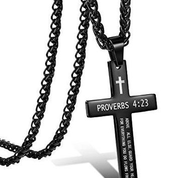 SHIP BY USPS: Jstyle Stainless Steel Cross Necklace for Men Women Pendant Chain Bible Verse 22-24 Inch