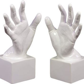 Ceramic Open Palm Bookend Gloss White