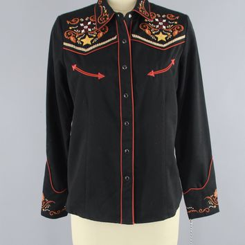 Vintage Embroidered Cowgirl Western Shirt by Scully