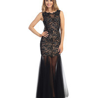 Black Lace & Tulle Cap Sleeve Mermaid Gown 2015 Prom Dresses