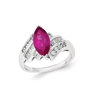 Sterling Silver Synthetic Ruby and CZ Marquise Ring