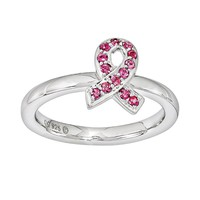 Stacks & Stones Sterling Silver Pink Crystal Breast Cancer Awareness Ribbon Stack Ring - Made with Swarovski Elements