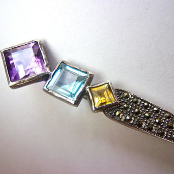 Gemstone Sterling Silver Bar Brooch-Pin, Art Deco, Marcasites, Vintage