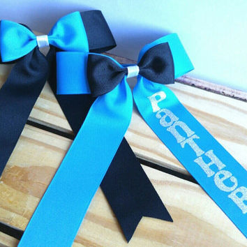 Panthers Football Cheer Bow - Football - Panthers - Football Accessories - Panthers Accessories - personalized - Gift for Her - NFL