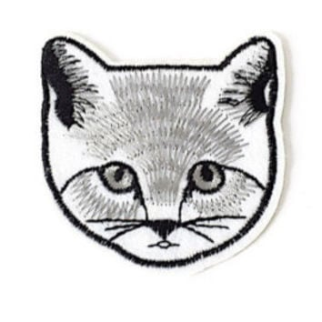 Graphic Black & white Cat face iron-on patch, Embroidered, Applique