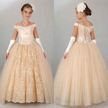 Vintage Ball Gown Lace Cap Sleeves Flower Girl Dresses 2017 Party First Kids Communion Dress 2017 Kids Prom Evening Gowns