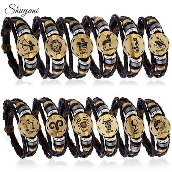 12PCS Punk 12 Zodiac Signs Leather Bracelet Multilayer 12 Constellations Bracelets Men Alloy Vintage Snap Button Bead Bangle